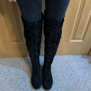 Over the knee black Free People boots size 8